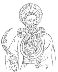 Line drawing of an archdruid