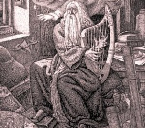 Woodcut of a bard playing the harp
