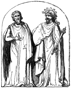 Woodcut of two druids