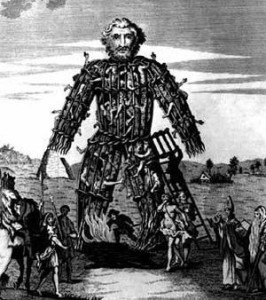 Woodcut of a wicker man